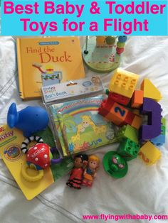 A collection of age appropriate toys and activities to entertain babies and…