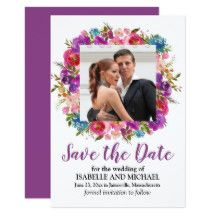 Purple Floral Save the Date Card with Photo