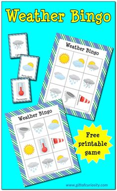 Gift of Curiosity Free printable Weather Bingo game. What a great resource for helping preschoolers, kindergartners, and other young kids learn about the weather! Weather Activities Preschool, Teaching Weather, Weather Science, Kindergarten Science, Science Classroom, Preschool Weather Chart, Weather Lesson Plans, Weather Lessons, Weather For Kids