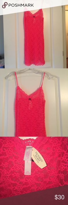 Victoria Secret Sexy Lace Night Slip Hot Pink NWT Brand new Victoria Secret Hot Pink Lace Nighty. Gorgeous lace with fully adjustable straps. Victoria's Secret Intimates & Sleepwear Chemises & Slips. Brand new with tags Victoria's Secret Intimates & Sleepwear Chemises & Slips