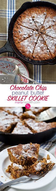 Chocolate Chip Peanut Butter Skillet Cookie {gluten free} | Irresistible!! MarlaMeridith.com #recipe