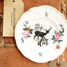 'I'm quite fawned of you my deer' ~ oh my deer vintage tea plate now available to purchase from @exchangeleics 😍 www.heartvintage.co.uk