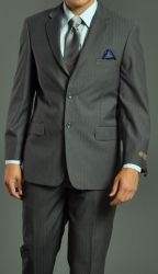 Men's Two Button Shadow Stripe Suit