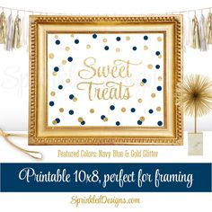 Sweet Treats Party Sign for Dessert Table Navy by SprinkledDesign