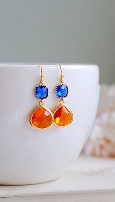 Cobalt Blue Tangerine Orange Drop Earrings, Sapphire Blue Orange Dangle Earrings, Modern Everyday Jewelry, Blue Orange Wedding Earrings by LeChaim. https://www.etsy.com/shop/LeChaim
