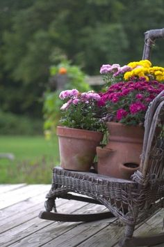 Love the idea with an old rocking chair