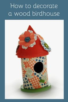 Learn how to decorate a $1 wood birdhouse with Mod Podge - it's SO easy!