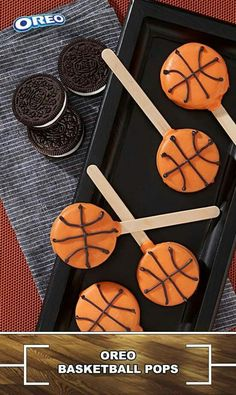 OREO Basketball Pops Recipe We're suckers for these sweet little pops, featuring OREO Cookies decorated to look just like little basketballs. This one's a slam dunk for everyone – friends, family and kids of all ages. Basketball Baby Shower, Basketball Birthday Parties, Birthday Party Themes, Boy Birthday, Basketball Party Favors, Basketball Gifts, Ball Theme Party, Sports Birthday Cakes, Sports Party Favors