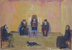 """Pedro Figari (Montevideo, 1861 - Montevideo, 1938) """"El muerto incomodo"""" ?, Huile sur carton, H. 35 cm ; L. 50 cm © pedrofigari.com"""