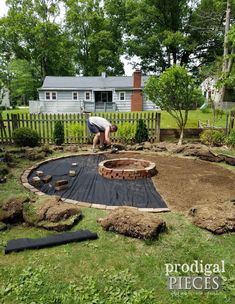 Laying Fire Pit Brick and Landscaping Fabric | prodigalpieces.com