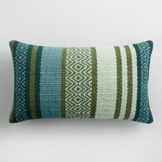 Create a boho-chic look inside or out with our lumbar pillow crafted of eco-conscious recycled plastic bottles. Its soft multicolored background features chevron patterns in captivating cool tones. Large Pillows, Linen Pillows, Decorative Throw Pillows, Cushions, Diy Knitting Projects, Weaving Projects, Knitting Tutorials, Weaving Patterns, Textile Patterns