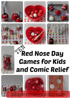 Ten fun and easy to set up games for kids to play to help raise money on Red Nose Day for Comic Relief. Nursery Activities, Toddler Learning Activities, Rainy Day Activities, Learning Resources, Preschool Activities, Red Day, Red Nose Day, Egg And Spoon Race, Messy Play
