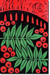 'Rowan' - lino-cut by Alice Strange