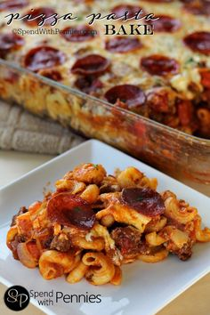 Pizza Pasta Bake! This easy cheesy pizza pasta casserole has layers of pasta, a zesty loaded sauce with your favorite toppings & tons of gooey cheese!