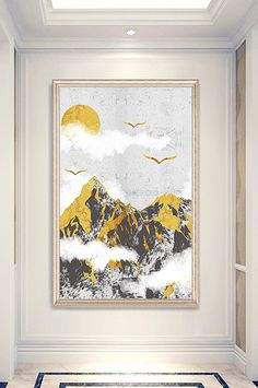 Chinese style, mountains and rivers, landscape, porch decorative painting New Chinese, Chinese Style, Wedding Stage Design, Nordic Lights, Abstract Lines, Painted Floors, Mountain Landscape, Nordic Style, Sign Design