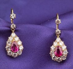 18kt Gold, Ruby, and Diamond Earpendants
