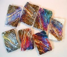 Fused Glass using natural volcanic patterns by Marian Fieldson / 4x6 trays