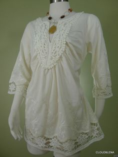 NWoT DESIGN WORKS Size M Ivory Cotton Crochet lace/Embroidery BOHO  Tunic Blouse #DesignWorks #Blouse #Casual