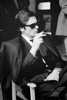 Alain Delon smoking in Rome 1969