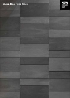 Sustainable, grey ceramic tiles for walls and floors. Elegant shades of grey-green, mid grey, anthracite, and cool black. Eleven sizes. From MOSA. Tiles.
