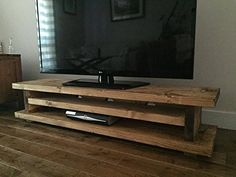 Solid Rustic Handmade Pine TV Unit, finished in a Chunky Country Oak (Medium Oak, 120cm long): Amazon.co.uk: TV