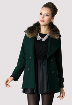 Fur Collar Double Breasted Coat in Olive - Outers - Retro, Indie and Unique Fashion