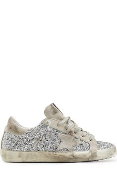GOLDEN GOOSE Super Star Leather And Glitter  Sneakers. #goldengoose #shoes #sneakers