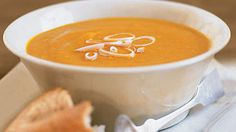 Curried Carrot, Sweet Potato, and Ginger Soup | This soup gets its wonderfully creamy texture from purèed carrots and sweet potatoes rather than cream, a dairy product Willett discourages due to its