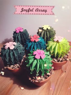 Joyful Array Paper Cacti! #Paperart #homedecor #officedecor