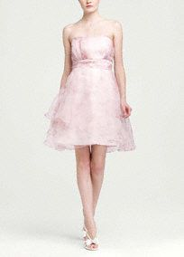 Delicate and ultra feminine, you will dazzle in this stunning organza dress!  Strapless short organza dress features a tiered skirt and delicate print giving it a whimsical feel.  Empire sash cinches waist creating a flattering silhouette.  Fully lined. Back zip. Importedpolyester. Dry clean only.  Sizes and colors may have limited availability and may vary by store.