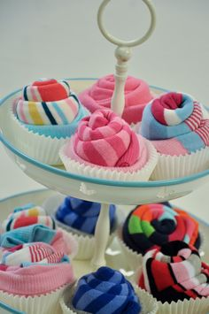 Pippa's long stockings: DIY sock cupcakes | Sock cupcakes are a great way to display socks as a gift. Or you could just display your own socks like this, if you really want to...