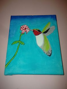 Ruby-Throated Humming Bird Painting Acrylic Art Wrapped by missy69