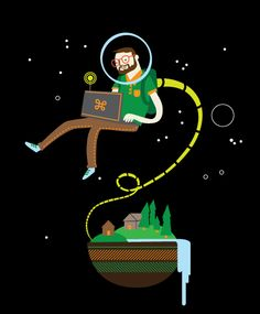 """Bill Fereng - Working on a #t-shirt. Here's a piece of the design. This is what I imagine him saying: """"Just working on my laptop above my exoplanet. nbd."""" #character #illustration"""