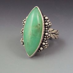 Chrysoprase Marquis Ring size 6 by danaevansstudio on Etsy, $175.00