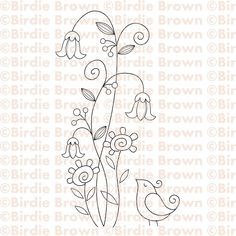 Swirly flowers & bird - another rubber stamp that would make a precious stitchery!  :)