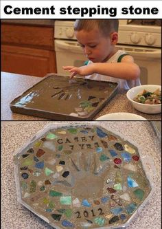 Homemade cement stepping stone