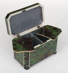 A Rare Late 18th c. English Green Tortoiseshell Tea Caddy
