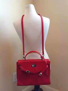 VTG Gianni Versace Couture Red Leather Satchel Crossbody Handbag Bag Purse   Versace  Satchel abf599a7f76f9