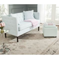 Shop for Safavieh Sarah Powder Blue/ White Tufted Settee. Get free shipping at Overstock.com - Your Online Furniture Outlet Store! Get 5% in rewards with Club O! - 16730587