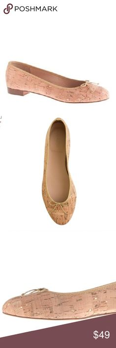 ✨Beautiful J.Crew Italian Kiki Cork Ballet Flats Inspired by flats seen on the streets of Paris, these ballets are crafted with a higher vamp, a slightly more tapered toe and a tiny heel (for just a hint of a lift). The cork pattern with a hint of gold flecks and classic flat style make this flat perfect for any occasion. Worn gently, only sign of wear is scratching on bottom of shoes. Line through soles (foot-contact side) to prevent store return. Originally $160  Polyurethane/cotton/poly…