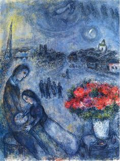 """Newlyweds with Paris in the Background"" - Marc Chagall (1980, Saint-paul-de-vence, Fr.)"