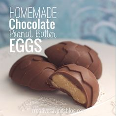 These chocolate peanut butter eggs are to-die-for! The peanut butter filling melts in your mouth & makes a delectable Easter treat. They go super fast in my peanut-butter-loving family! Peanut Butter Eggs, Peanut Butter Filling, Chocolate Peanut Butter, Candy Recipes, Sweet Recipes, Dessert Recipes, Dessert Ideas, Melting Chocolate Chips, Chocolate Peanuts
