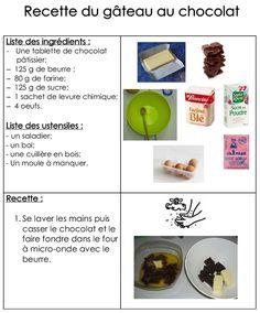 Site internet de l'école maternelle Danielle Casanova - Le gâteau au chocolat Site Internet, French Food, Easy Meals, Food And Drink, Eggs, Cake, Cooking, Breakfast, Desserts