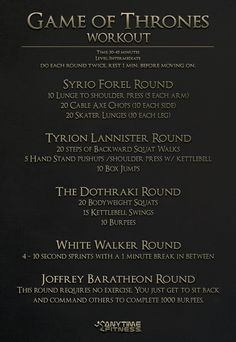 Game of Thrones - Season 4 Workout #GoT You'll work up a sweat in this circuit.