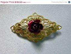ON SALE 70's Victorian Style Red Rose Gold by PopcornVintageByTann, $15.73