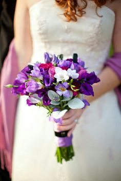 Purple Lisianthus, Lavender Freesia, White Freesia, Hot Pink Florals, Green Lamb's Ear