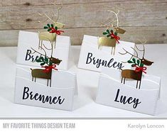 Handmade place cards from Karolyn Loncon featuring Deer Love Die-namics #mftstamps