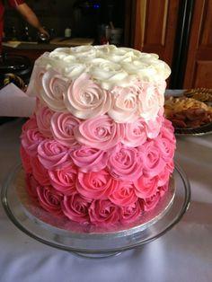 Ombré baby shower cake.