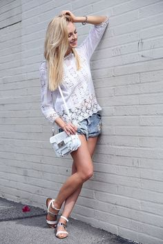 Lace top and denim shorts