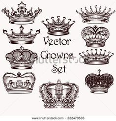 Collection of vector hand drawn crowns for design royalty-free collection of vector hand drawn crowns for design stock vector art & more images of 2015 Dream Tattoos, Body Art Tattoos, Sleeve Tattoos, Tatoos, Heart Tattoos, Skull Tattoos, Vector Hand, Free Vector Art, Vector Graphics